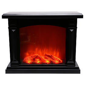 Schwarzer Kamin mit LED und Feuereffekt, 35x40x15 cm s1