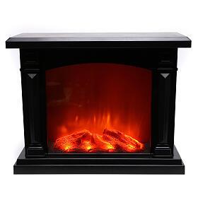 Schwarzer Kamin mit LED und Feuereffekt, 35x40x15 cm s2