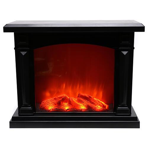 Schwarzer Kamin mit LED und Feuereffekt, 35x40x15 cm 1