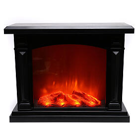 Lareira decorativa LED preta efeito chama 35x40x15 cm s2