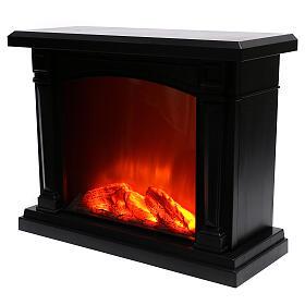 Lareira decorativa LED preta efeito chama 35x40x15 cm s3