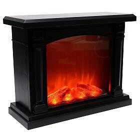 Lareira decorativa LED preta efeito chama 35x40x15 cm s4