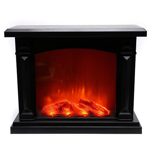 Lareira decorativa LED preta efeito chama 35x40x15 cm 2
