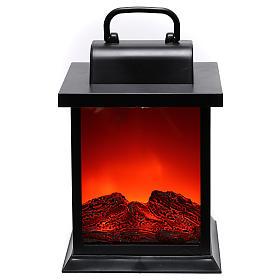 Cheminées à LED décoratives: Lanterne LED effet flamme carrée 25x15x15 cm