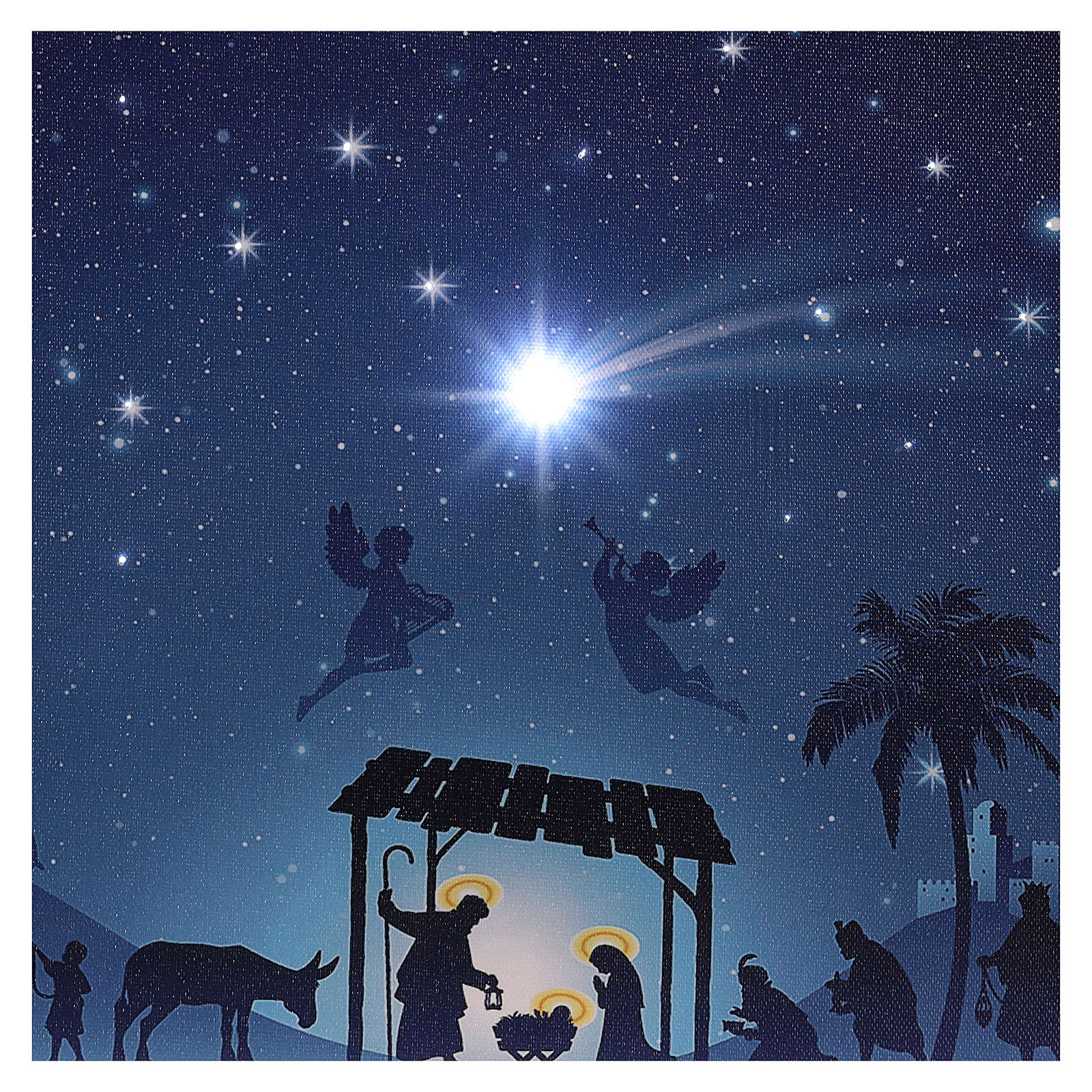 Illuminated Christmas picture with Nativity and comet 30x40 cm 3