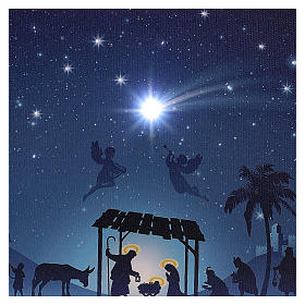 Illuminated Christmas picture with Nativity and comet 30x40 cm s2