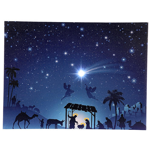 Illuminated Christmas picture with Nativity and comet 30x40 cm 1