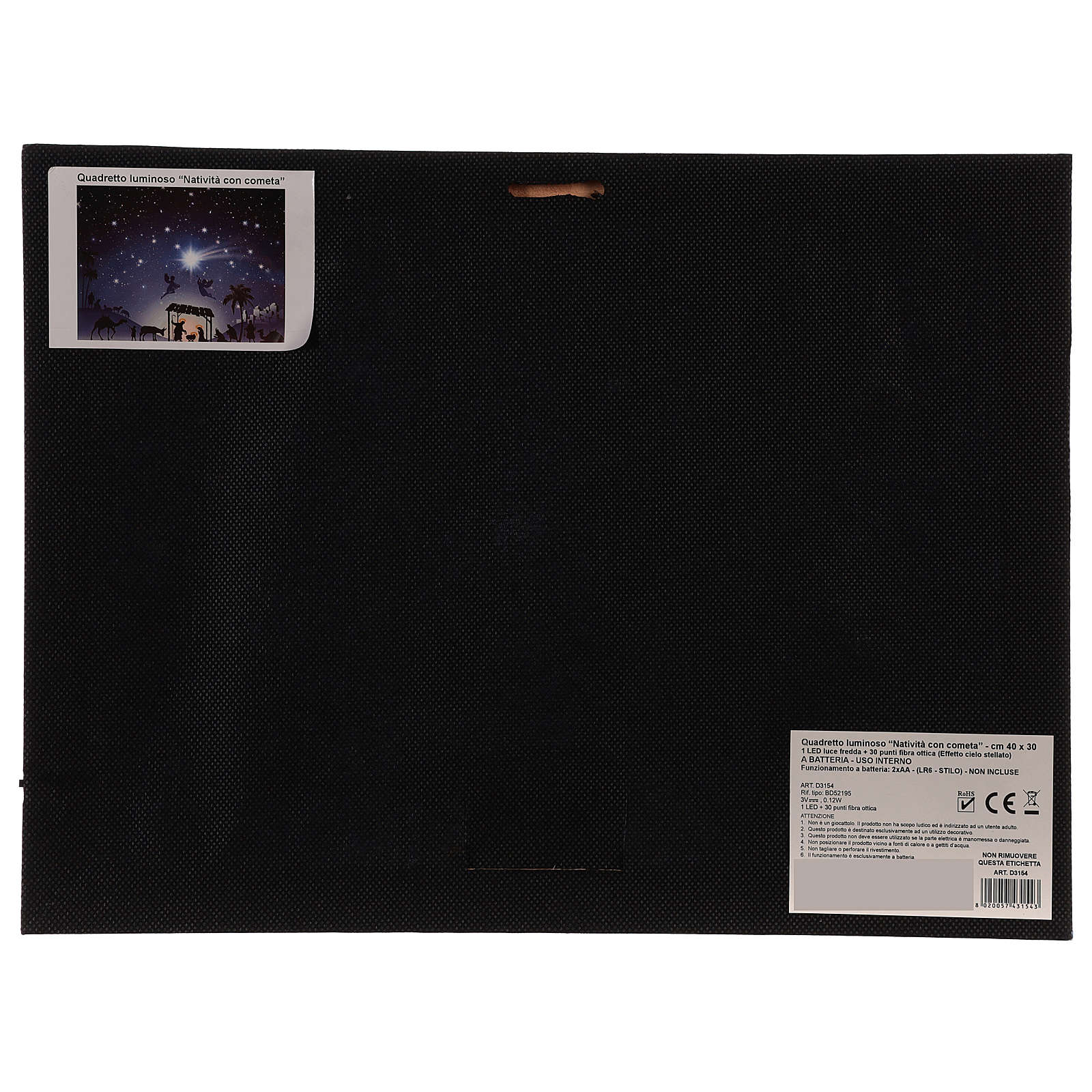 Cuadro iluminado led Natividad y cometa 30x40 cm 3
