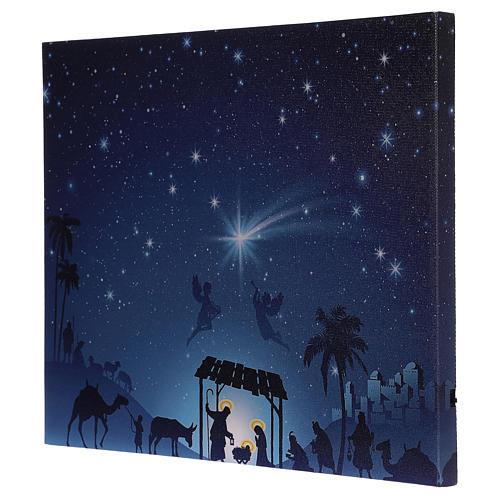 LED Nativity Scene frame with comet 30x40 cm 3