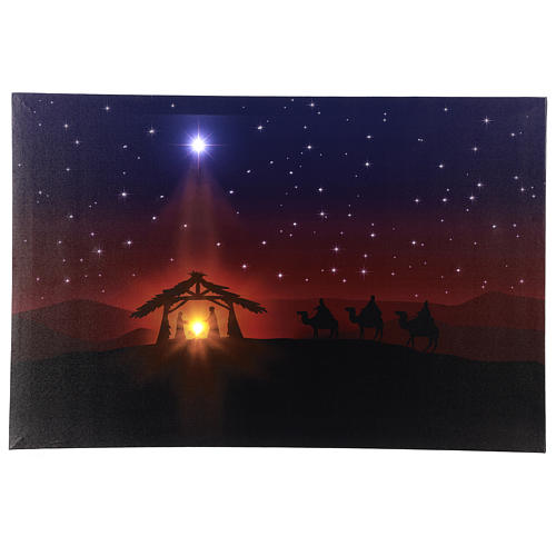 Illuminated 40x60 cm Nativity picture 1