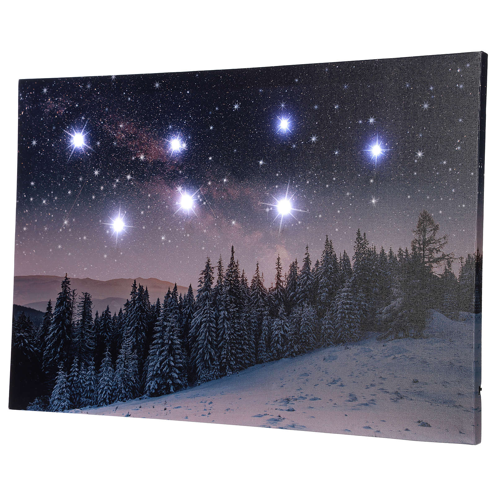 Christmas painting with snowy night landscape 40x60 cm 3
