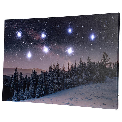 Christmas painting with snowy night landscape 40x60 cm 4