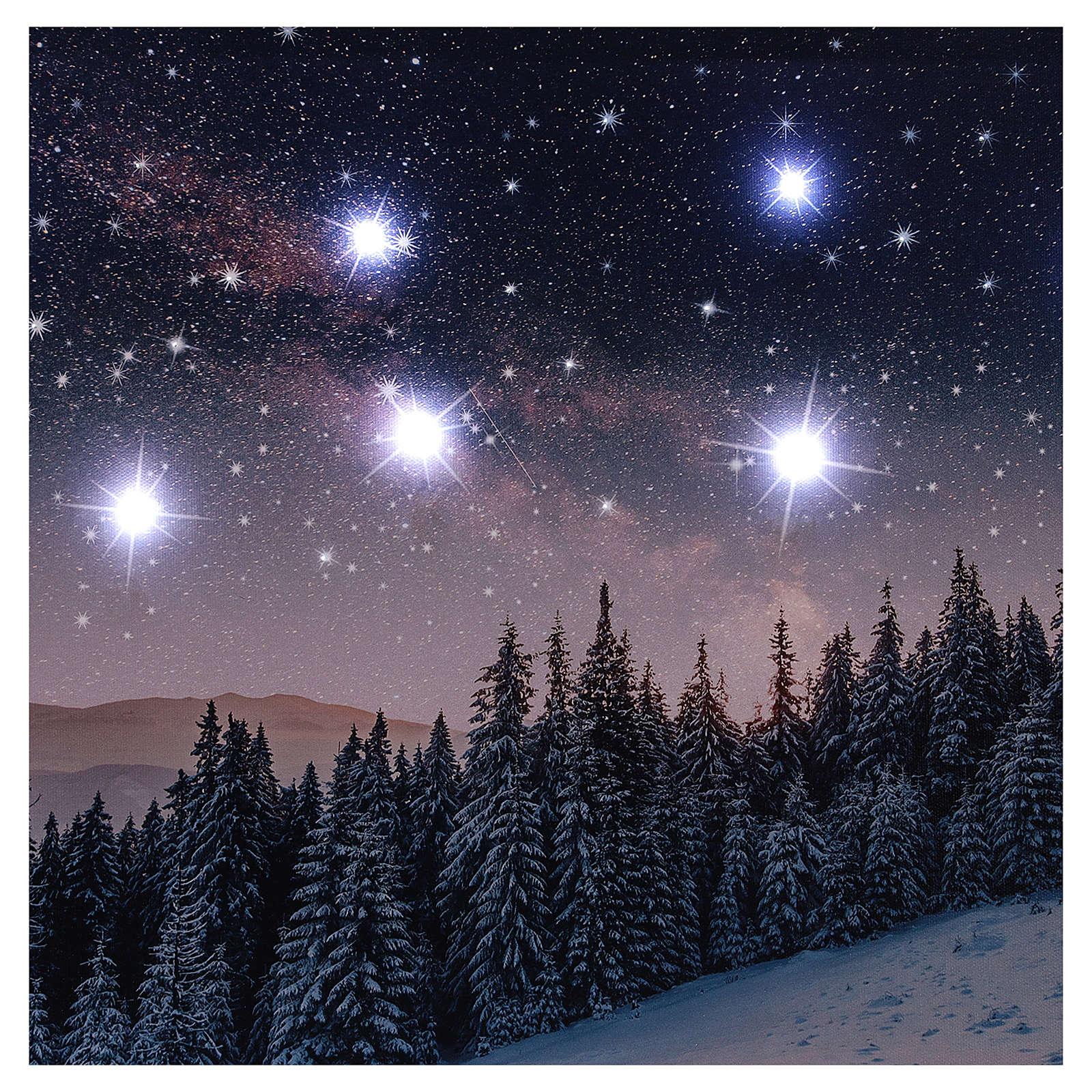 Quadro Natalizio paesaggio innevato notturno led 40x60 cm 3