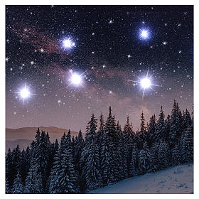 Quadro Natalizio paesaggio innevato notturno led 40x60 cm s2