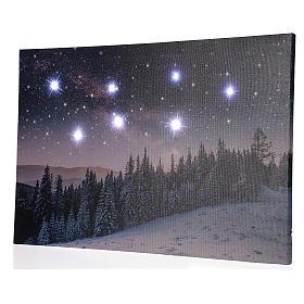 Quadro Natalizio paesaggio innevato notturno led 40x60 cm s3