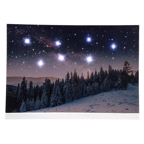 Quadro Natalizio paesaggio innevato notturno led 40x60 cm 1