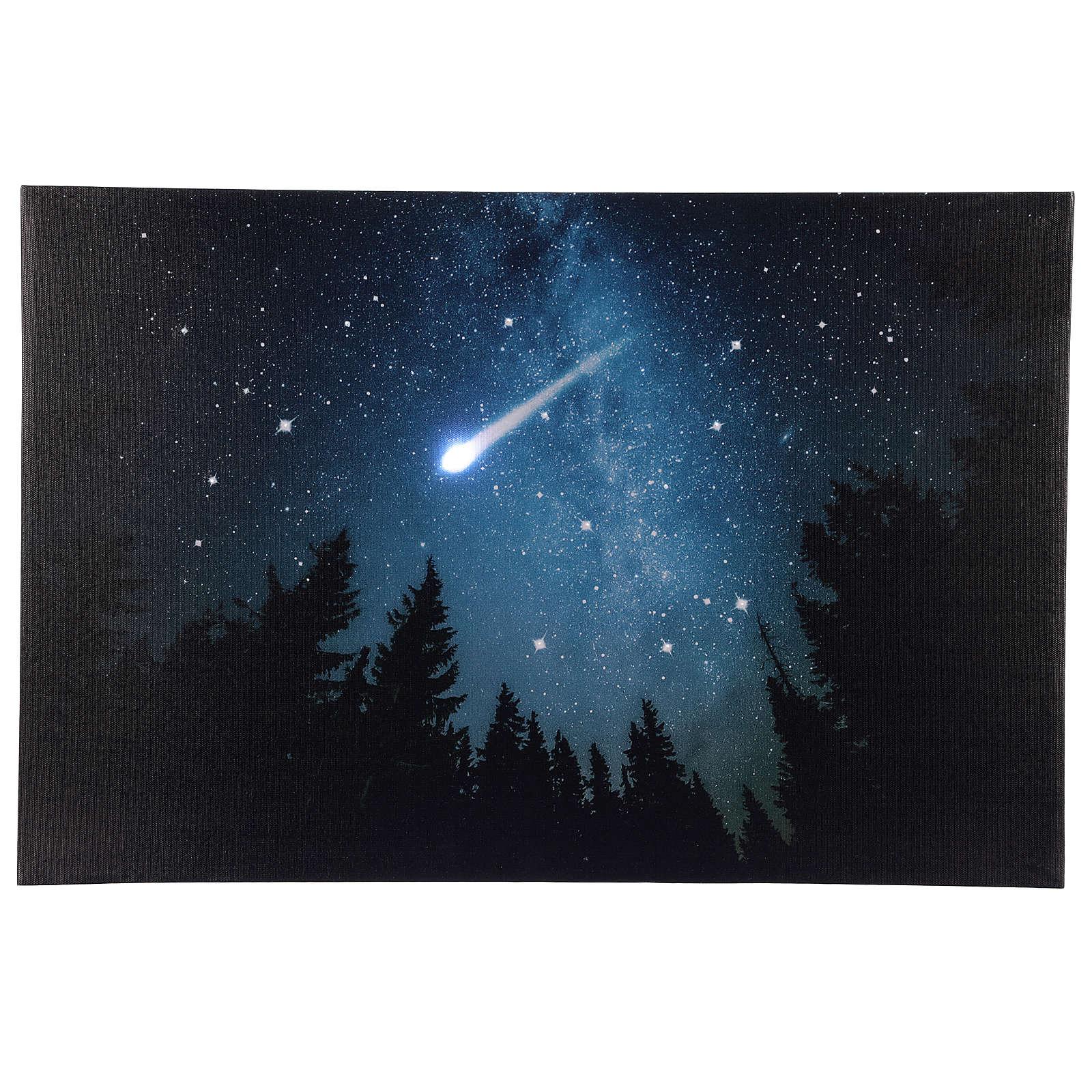 Quadro Natalizio bosco innevato di notte illuminato 40x60 cm 3