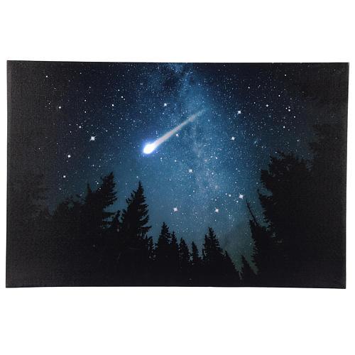 Quadro Natalizio bosco innevato di notte illuminato 40x60 cm 1