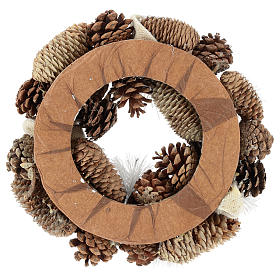 Christmas Wreath 30 cm with snowy pine cones in wood s5