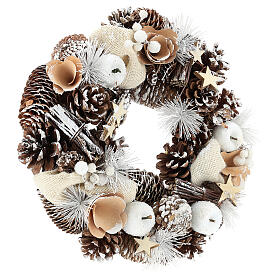 Christmas Wreath 30 cm with snowy pine cones in wood s4