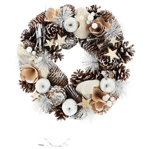 Christmas Wreath 30 cm with snowy pine cones in wood 1