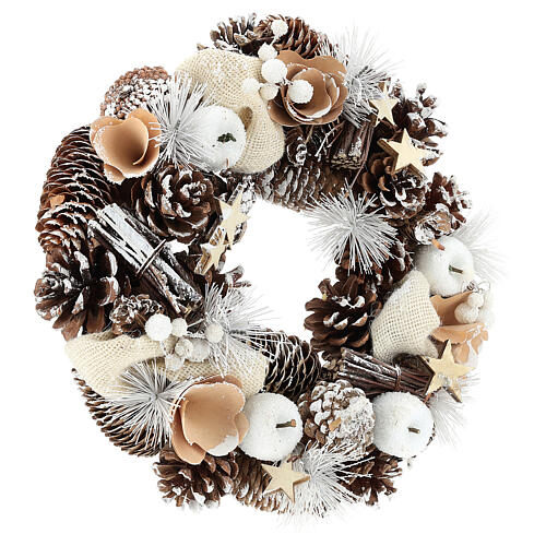Christmas Wreath 30 cm with snowy pine cones in wood 4