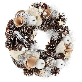 Corona de Navidad 30 cm piñas nevadas madera s4