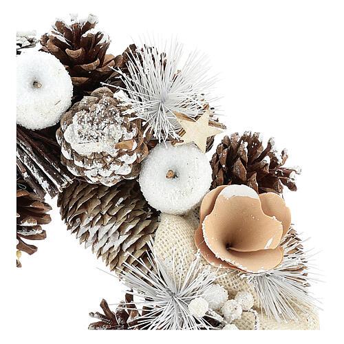 Corona de Navidad 30 cm piñas nevadas madera 2