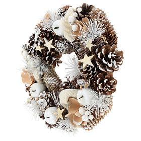 Couronne de Noël 30 cm pommes de pin enneigée bois s3