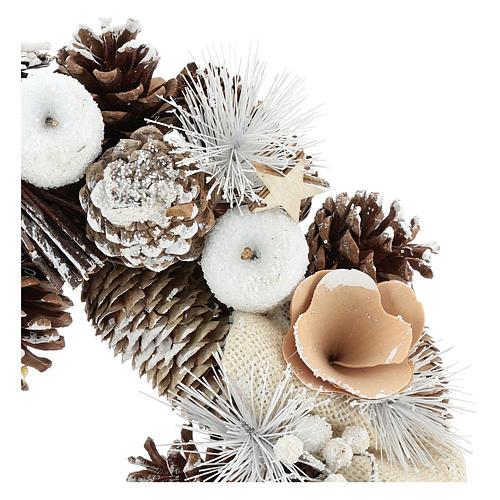 Couronne de Noël 30 cm pommes de pin enneigée bois 2