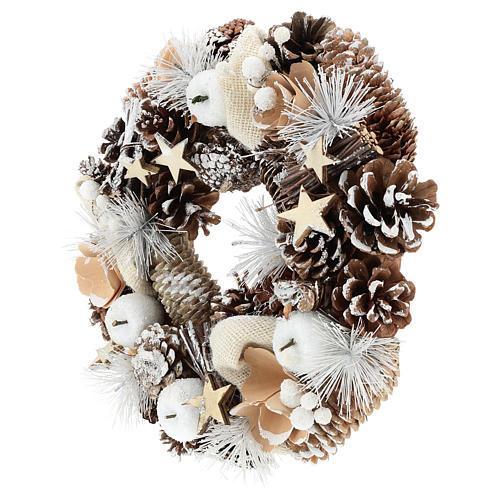 Couronne de Noël 30 cm pommes de pin enneigée bois 3