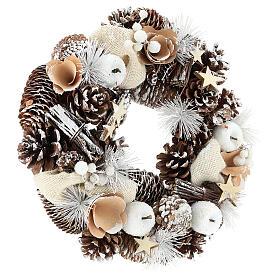 Corona di Natale 30 cm pigne innevate legno  s4