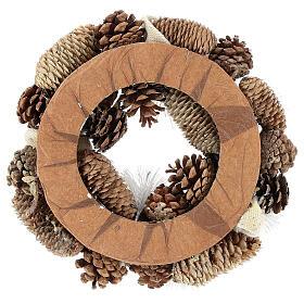 Corona di Natale 30 cm pigne innevate legno  s5