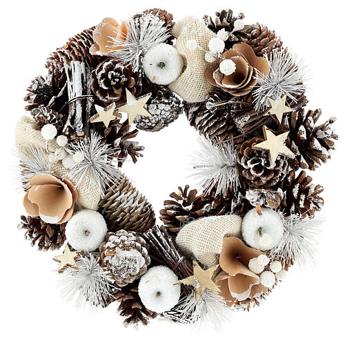 Corona di Natale 30 cm pigne innevate legno  1