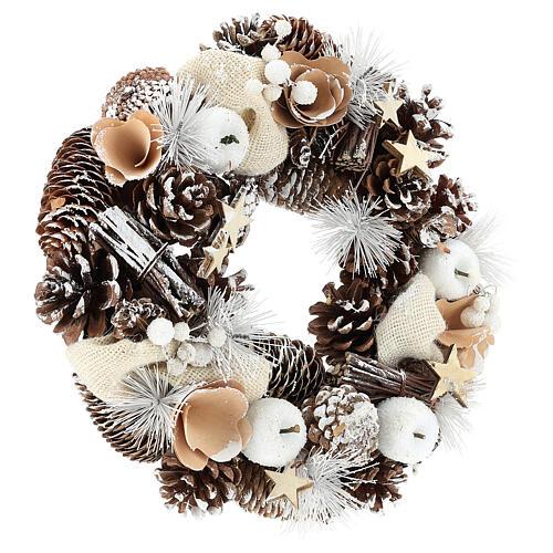 Corona di Natale 30 cm pigne innevate legno  4