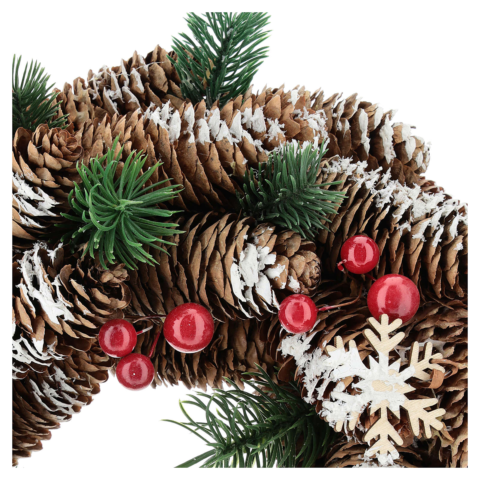Advent wreath with pine cones, fake snow and red berries 30 cm 3