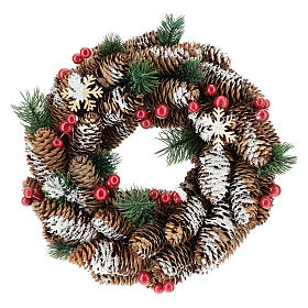 Advent wreath with pine cones, fake snow and red berries 30 cm s1