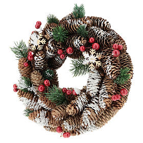 Advent wreath with pine cones, fake snow and red berries 30 cm s3