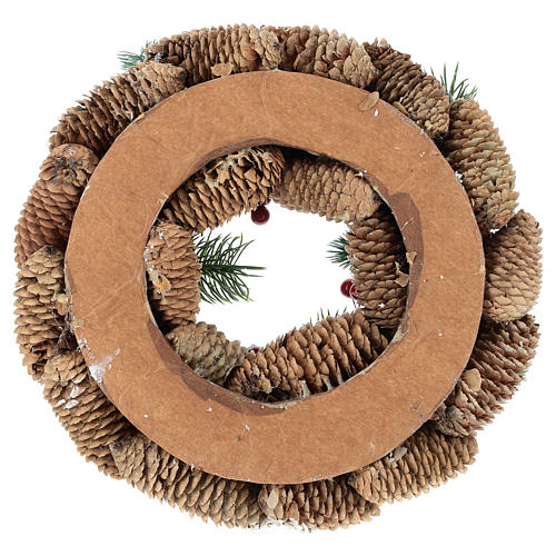 Advent wreath with pine cones, fake snow and red berries 30 cm 5
