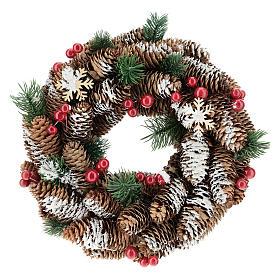 Enfeites de Natal para a Casa: Coroa Advento pinhas nevadas bagas vermelhas 30 cm