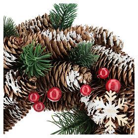 Coroa Advento pinhas nevadas bagas vermelhas 30 cm s2