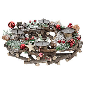 Advent wreath with intertwined wood pieces and candle holders 28 cm s1