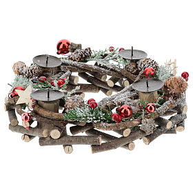 Advent wreath with intertwined wood pieces and candle holders 28 cm s2