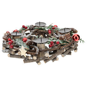 Advent wreath with intertwined wood pieces and candle holders 28 cm s4