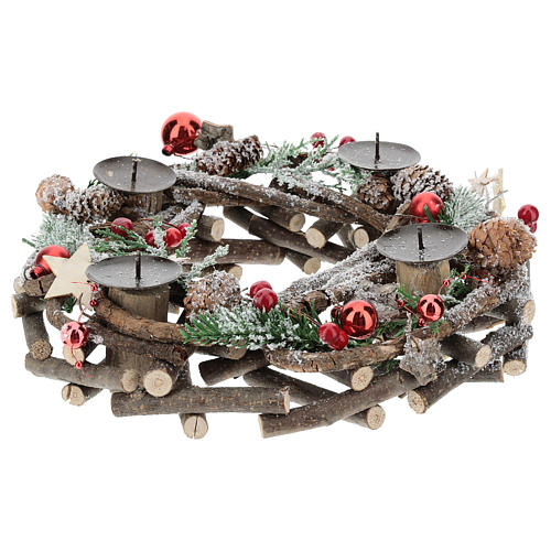 Advent wreath with intertwined wood pieces and candle holders 28 cm 2