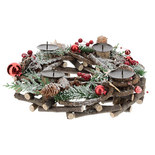 Advent wreath with intertwined wood pieces and candle holders 28 cm 3