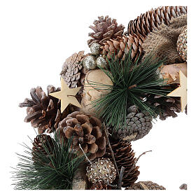 Christmas wreath with golden glitter and stars 32 cm s2