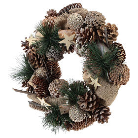 Christmas wreath with golden glitter and stars 32 cm s3