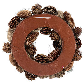 Christmas wreath with golden glitter and stars 32 cm s4