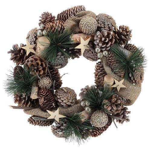 Christmas wreath with golden glitter and stars 32 cm 1